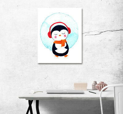 """16x20"""" Wall Art Poster Print Cute Penguin Canvas Painting Living Room Decoration"""