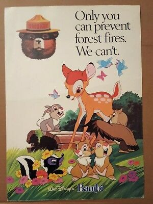 1942 Vintage Smokey Smoky The Bear Walt Disney Bambi Forest Fire Poster