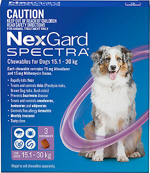 NexGard Spectra Chewables for Dogs 15.1 - 30kg PURPLE 3 PACK