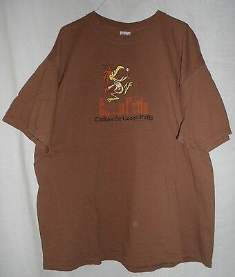 "COCOA PUFFS 2006 Used ""Cuckoo For"" G Mills Cereal Brown Screened T-Shirt 2XL"