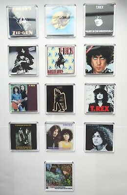 Marc Bolan / T.rex : 'the Album Collection' Set Of 13 Square Fridge Magnets