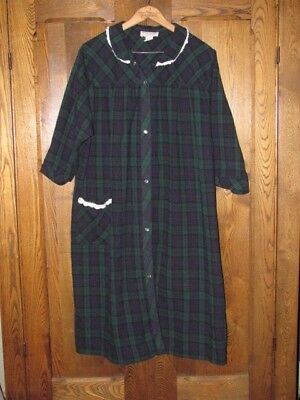 Vermont Country Store blue green plaid nightgown lace trim cotton  1X  EUC