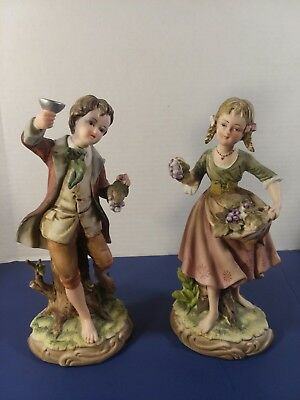 Vintage Andrea by Sadek 7161 Boy & Girl Figurines Grapes Over 8 Inches Excellent