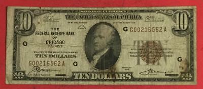 1929 $10 Brown Seal National Currency Chicago X562 VG! Old US Paper Currency