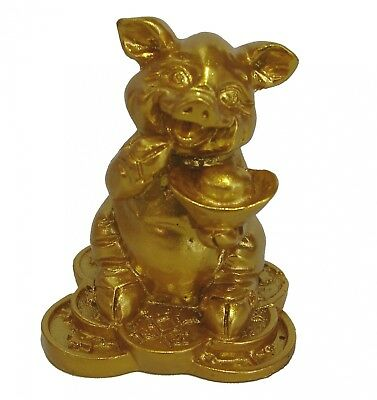Small Chinese Zodiac Golden Money Pig Statue Boar Figurine Feng Shui Animal