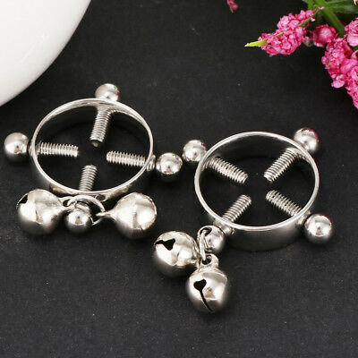 1 Pair Screw Circle Nipple Cover Ring Body Clip On Non-Piercing Jewelry