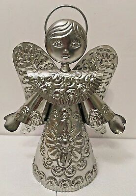 """Mexican Punched Tin Angel Christmas Ornament Tree Topper Folk Art 10"""""""