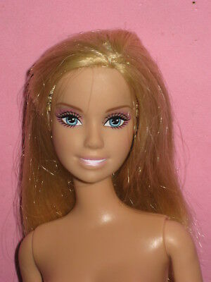 Nude Barbie Doll-Honey  Blond Hair -Pale Pink  Lips-Belly Button Body