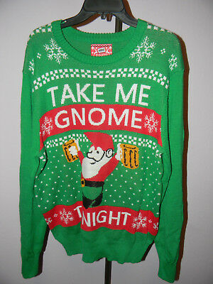 Mens Target Mossimo Christmas Take Me Gnome Tonight Beer Sweater
