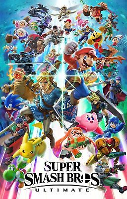 Y-100 Super Smash Bros Ultimate 27x40 24x36 Hot Poster Video Game 03