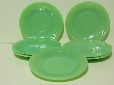 Lot Of 7 Vintage Jadeite Fire King Coffee Cup Saucers Jane Ray