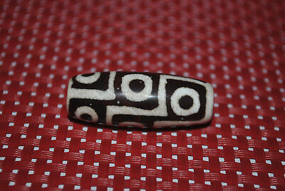 tibetan prayer worry dzi bead old agate 9 eyes amulet gzi antique tibet  C16