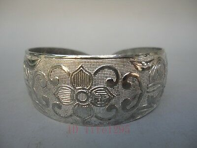Collection Old China Tibet Silver Handmade Pretty Flower Bracelet Decoration
