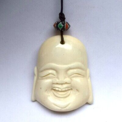 Collection Ornaments Asian Chinese Old Hand Carved Happy Maitreya Pendant Amulet