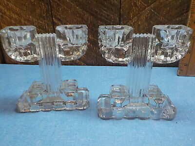 """Vintage Art Deco Pressed Glass Double Candlesticks candle holders 4 1/2"""""""