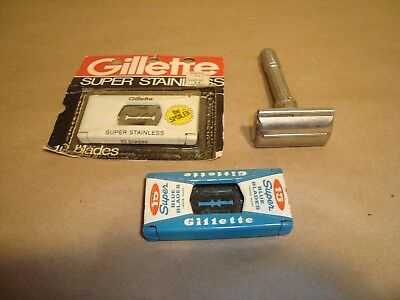 Vintage Gillette H3 Adjustable Safety Razor w/ blades