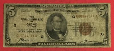 1929 $5 Brown Seal National Currency Chicago X344 VG! Old US Paper Money Currenc