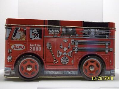 2000 Friskies Alpo Millennium Fire Engine Tin Bank with Rolling Wheels