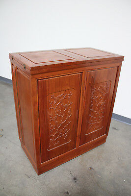 Antique Vintage Hand carved wooden Chinese Liquor Cabinet Bar Folding - ANTIQUE CHINESE LIQUOR Cabinet / Folding Bar / Black Lacquer