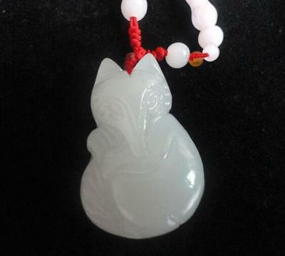 Natural statue   carved jewelry  Amulet Fox pet necklace white jade pendants