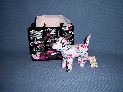 Victoria Secret Pink NEW Gift Bag Dog Plush Animal Kissing White Love Holiday