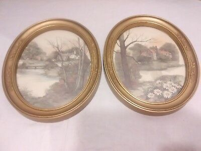 Rare 2 Vintage HOMCO OVAL ornate frame pictures Country House )(*^@@e9
