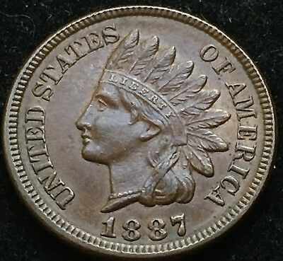 Beautiful AU 1887 Indian Head Cent. Scarce Date Higher Grade Coin!