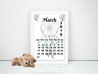 Pregnancy Announcement Calendar Due Date Personalised Unisex Boho Size A4 Printe