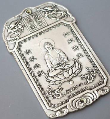 Amulet Waist tag 如来佛祖 celebrating Bullion thanka token China tibet Silver