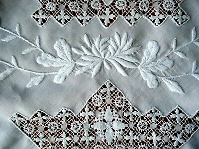 old vtg Tablecloth H done Tenerife Maltese Cross lace raised 3D white Emb/ery