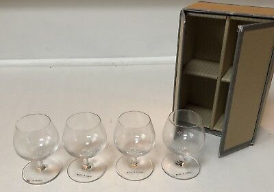 "Hennessey Three Star Cognac Mini 3"" Snifters Pair Crystal Stem Etched Shot Glass"