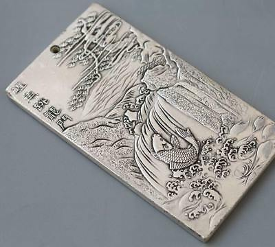 Waist tag thanka 鲤鱼跳龙门 Fengshui old  China tibet Silver token amulet statue