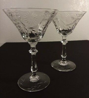 Pair Antique Elegant Cut & Engraved Champagne Glasses Flower & Horseshoe