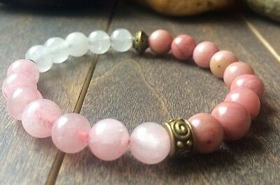 Rhodonite, Rose Quartz & Jade gemstone beaded Bracelet For Perseverance