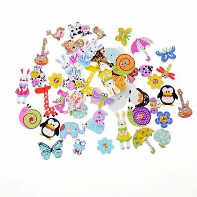Buttons Wooden 50pcs Random Mixed Decorative 2-Holes Sewing Scrapbooking Round