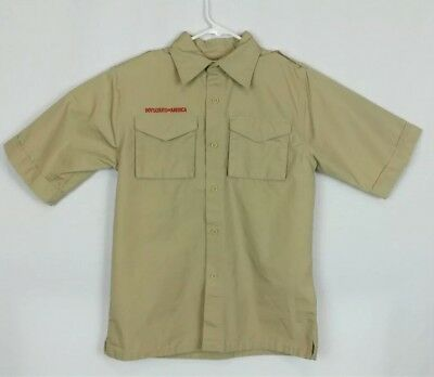 Boy Scouts Of America Youth Size Large Tan Official BSA Uniform Shirt