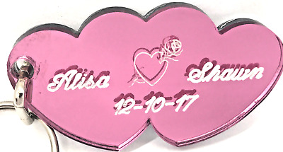PERSONALIZED PINK RIBBON Keychain Custom Names Engraved Free