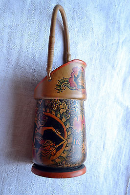 South Asian Indonesian shadow puppets painted bamboo brush pot ethnic