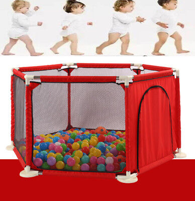 6 Side Large Foldable Baby Playpen Kids Toddler Play Pens Room Safety Gate Red