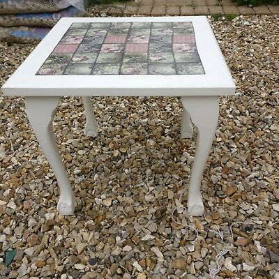 Retro vintage solid wood pretty small side coffee drinks occasional table