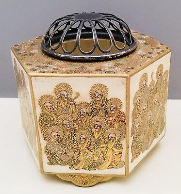 Magnificent Japanese Tripod Satsuma Koro with Silver Lid, Signed