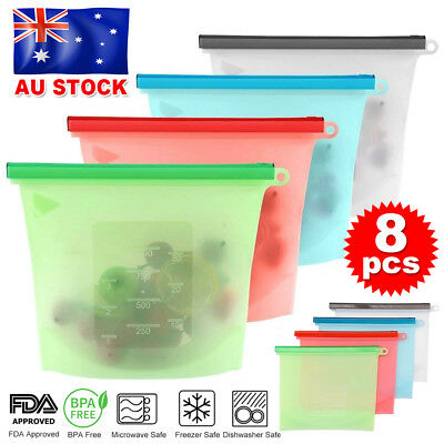 8x Reusable Silicone Seal Food Storage Preservation Bags Airtight Container AU