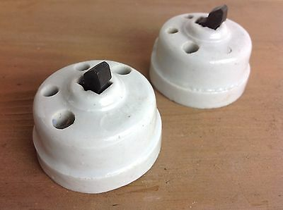 Pair Of Vintage Ceramic Light Switches Old Reclaimed Lighting