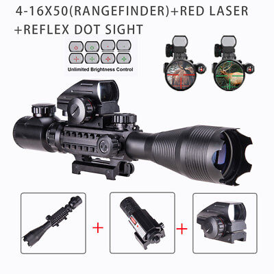 4-16x50EG Combo Rangefinder Rifle Scope Red laser & Red/Green Dot Sight Scope