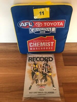 AFL 2018 Grand Final Footy Record + SEAT CUSHION * West Coast vs Collingwood *