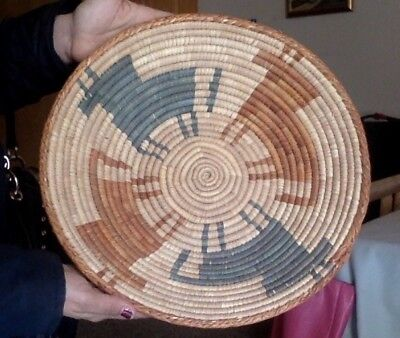Vintage Hand-Woven Native American Ceremonial Basket With Horse Motif