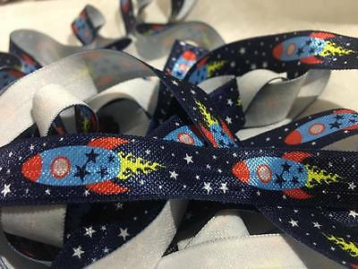"1m/5m Space Rockets on Blue FOE 5/8"" Fold Over Elastic HeadBand Hairties"