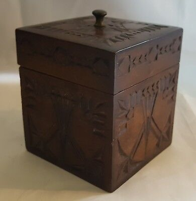 Black Forest carved oak wood vintage Victorian antique box