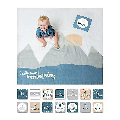 lulujo Baby Baby's First Year Blanket and Card Set, I Will Move Mountains
