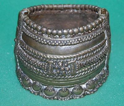 antique tribal arm cuff silver tone arm bangle rare ornate
